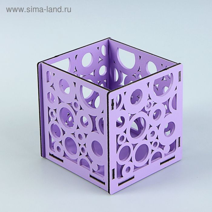 Подарочная коробочка с кругами, 10 х 10 х 10 см, сиреневый