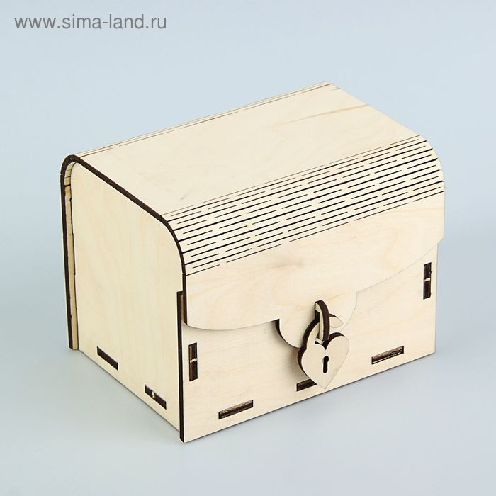 Сундучок с гнутой крышкой с замочком №2, 12 х 9 х 9 см, белый