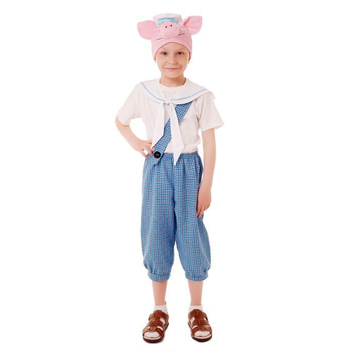 """Карнавальный костюм """"Поросёнок Нуф-Нуф"""", бриджи, футболка, воротник, шапка, р-р 64, рост 116-122 см"""