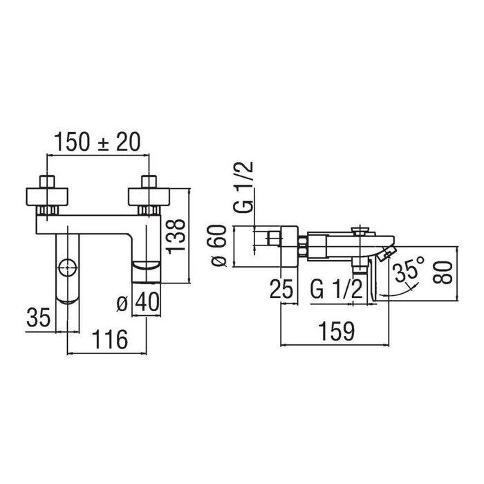 Смеситель для ванны TEKNOBILI NEW ROAD RD00110/1CR