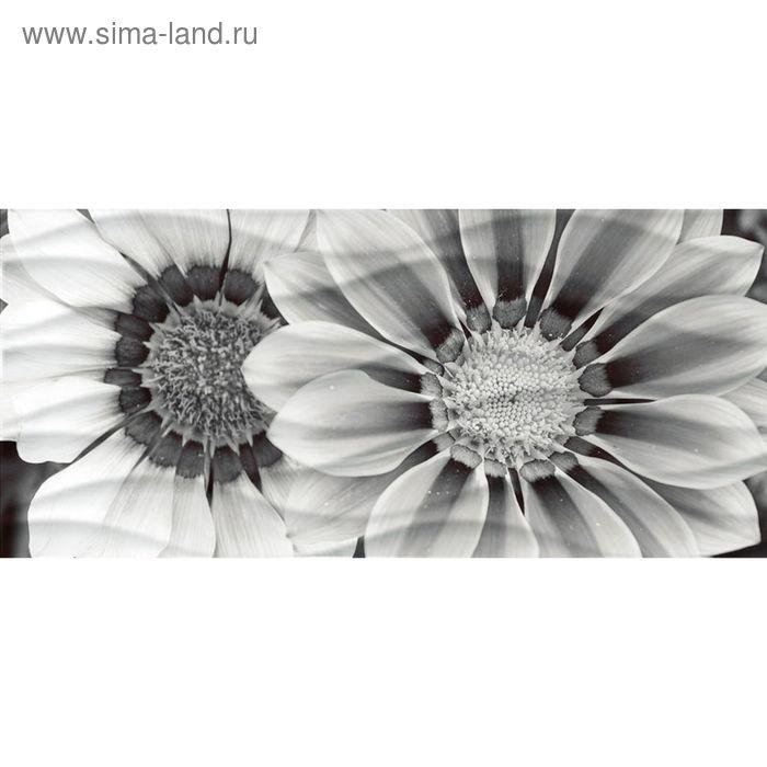 Вставка керамическая Wave WA2G443D Цветы, чёрно-белая, 440х200 мм