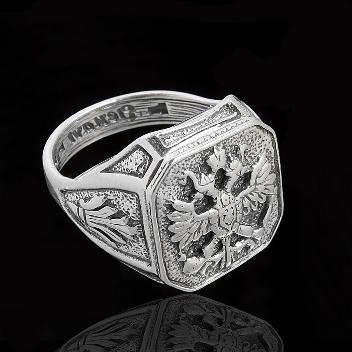"""Кольцо """"Россия"""", размер 19, цвет черненое серебро"""