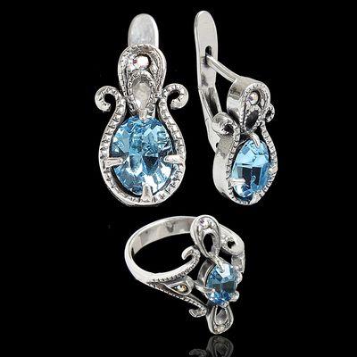 """Гарнитур 2 предмета: серьги, кольцо """"Беркшир"""", размер 18, цвет голубой в черненом серебре"""