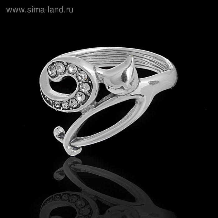 """Кольцо """"Мисс Китти"""", размер 17, цвет белый в черненом серебре"""