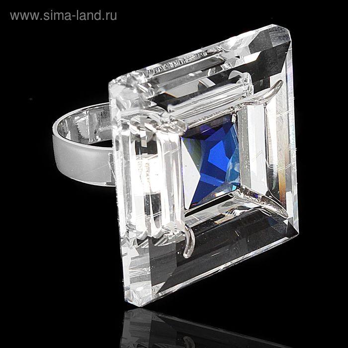 """Кольцо """"Проксима"""", размер 18, цвет голубой в серебре"""