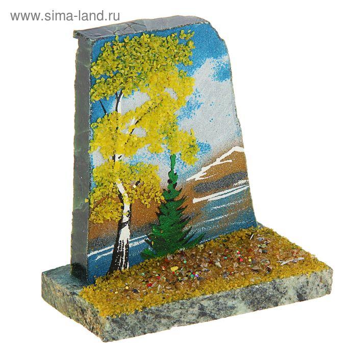 """Срез каменный на подставке Скол с рисунком  """"Осень"""" 4х7х8,5 см змеевик"""