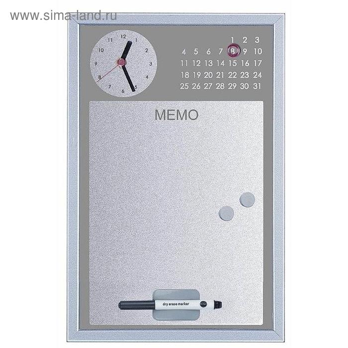 Доска магнитно-маркерная 30х45 см, часы+планинг, серый