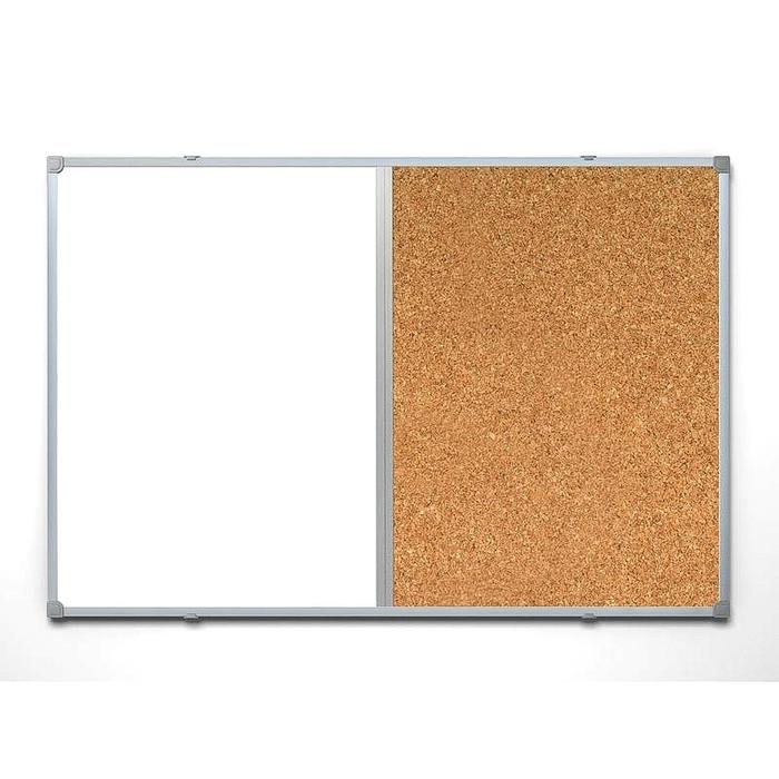 Доска комбинированная 60х90 см, алюминиевая рама, пробковая/магнитно-маркерная лак