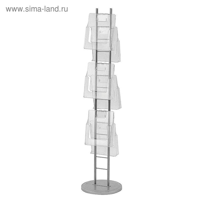 Информационный стенд напольный А4 металлический хром (6 отделений)