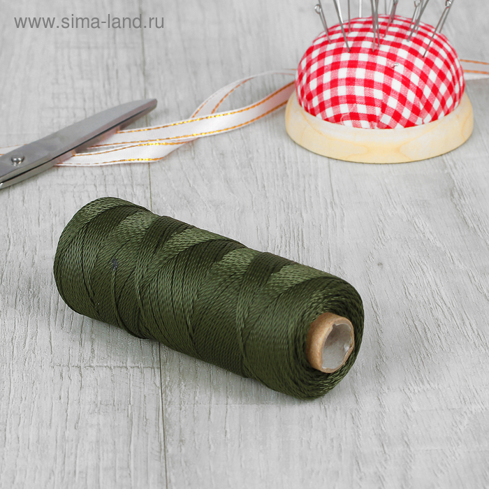 Нить для плетения кручёная, d=0,8мм, 150±1м, цвет хаки