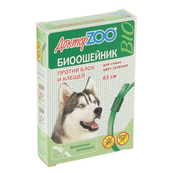 """Биоошейник """"Доктор ZOO"""" для собак от блох/клещей, зеленый, 65см"""