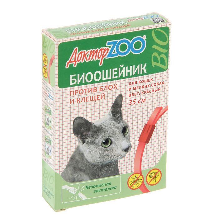 """Биоошейник """"Доктор ZOO"""" для кошек и мелких собак от блох/клещей, красный, 35см"""