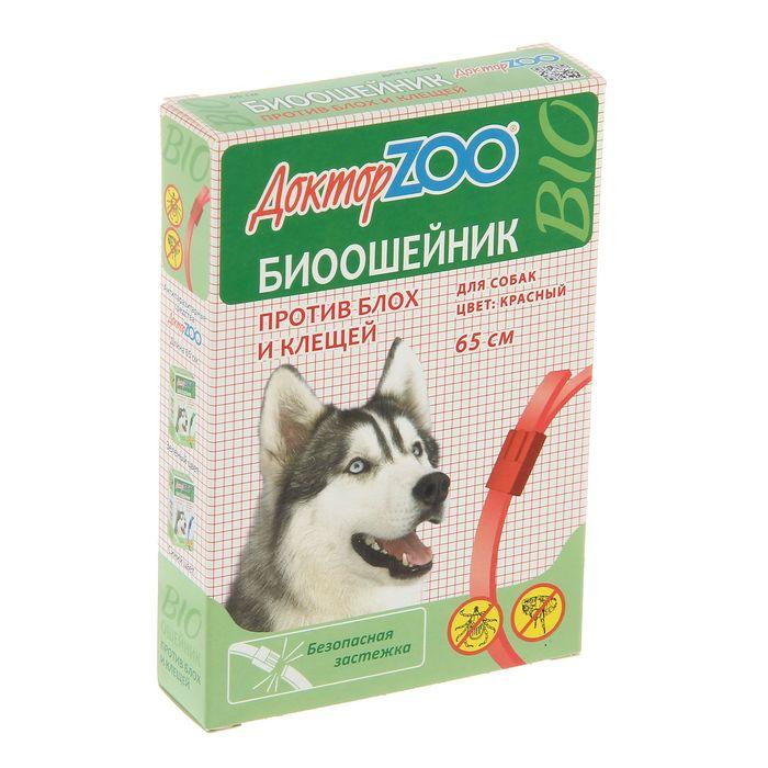 """Биоошейник """"Доктор ZOO"""" для собак от блох/клещей, красный, 65см"""