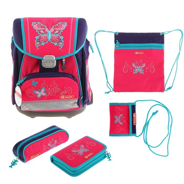 Ранец на замке Step By Step Touch Butterfly Dancer 33*38,5*23,5см, с наполнением, для девочки, розовый/синий