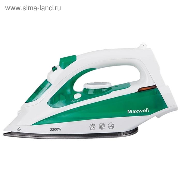 Утюг Maxwell MW-3036G, 2200 Вт, антипригарное покрытие, паровой удар, зеленый