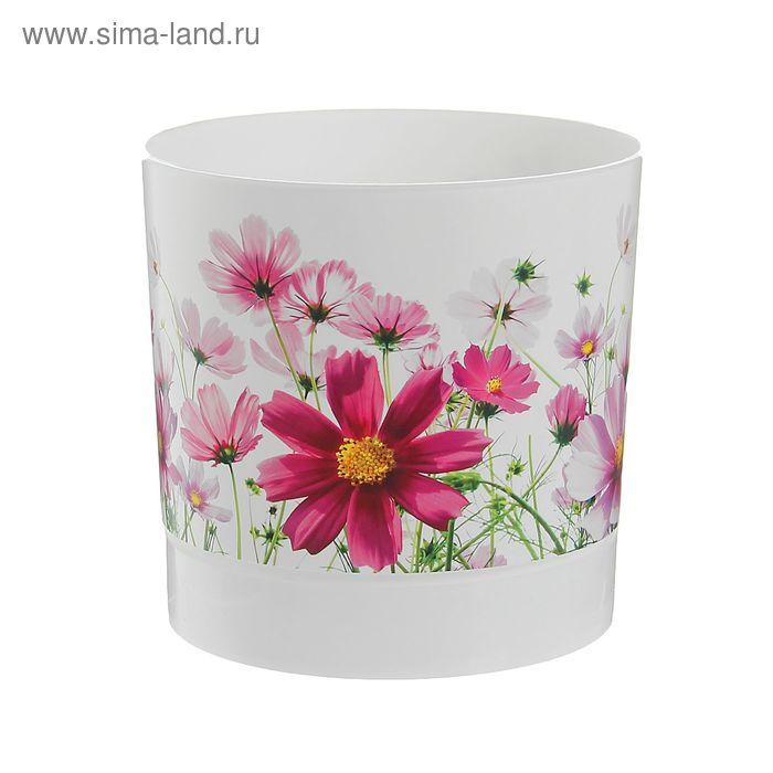 """Горшок для цветов 2 л """"Цветочная поляна"""", d=15,4 см, с поддоном"""