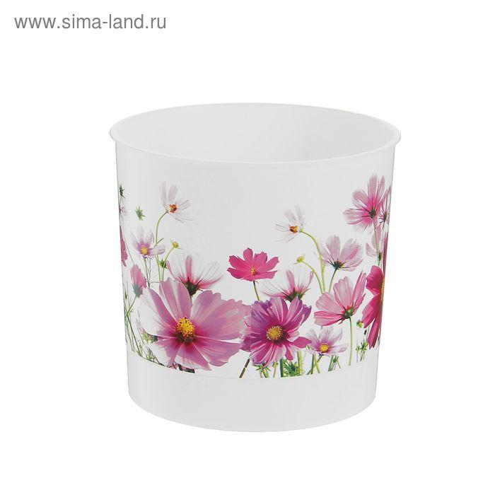 """Горшок для цветов 700 мл """"Цветочная поляна"""", d=11 см, с поддоном"""