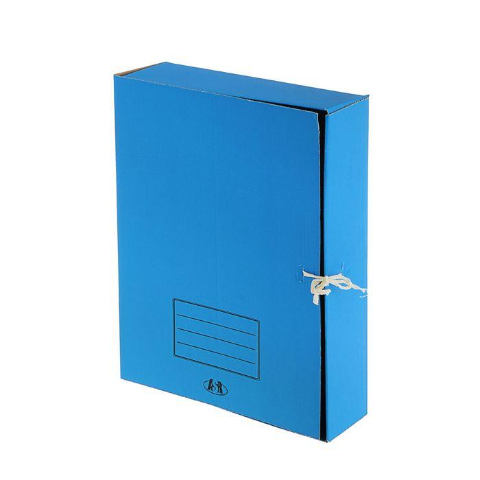 папка архивная А4 на завязках 75мм синяя