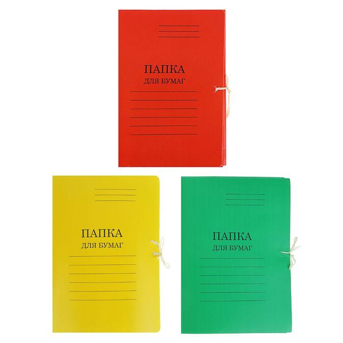 Папка для бумаг А4 на завязках, плотность 280г/м2, мелованный картон, 4 вида МИКС
