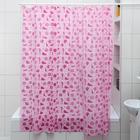 "Штора для ванной 180х180 см ""Ракушки"", цвет розовый"