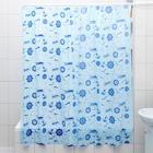 """Штора для ванной 180х180 см """"Кораблики"""", цвет голубой"""