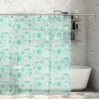 """Штора для ванной 180х180 см """"Кораблики"""", цвет зеленый"""