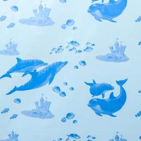 """Штора для ванной 180×180 см """"Дельфины"""", цвет голубой"""