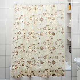 """Штора для ванной 180×180 см """"Кораблики"""", цвет охра"""