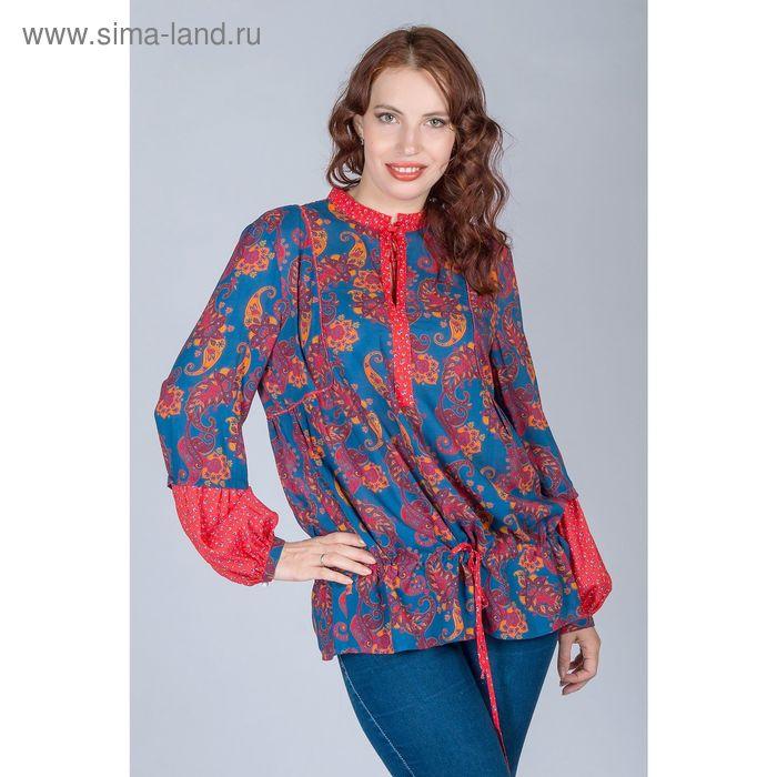 Блуза женская, размер 50, рост 170 см, цвет огурцы (арт. Y1163-0238 С+)