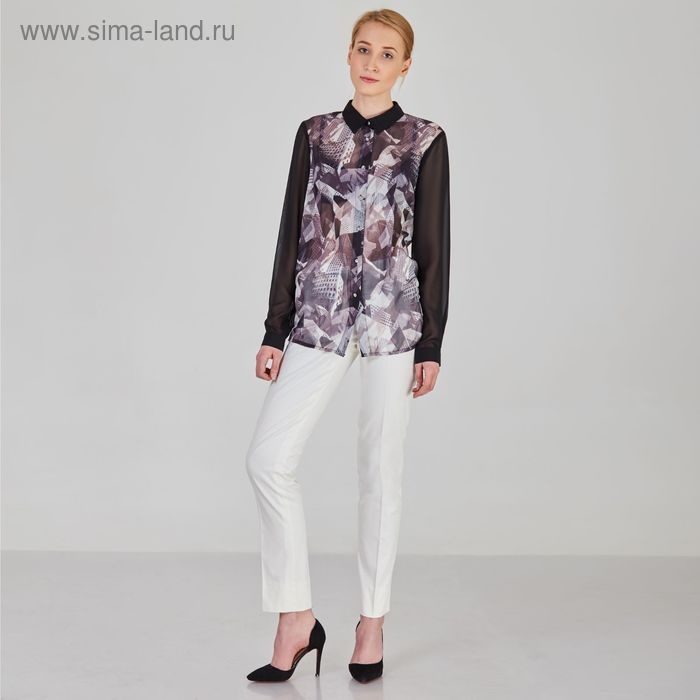 Блуза женская, размер 48, рост 170 см, цвет цветной принт (арт. Y1017-0171)