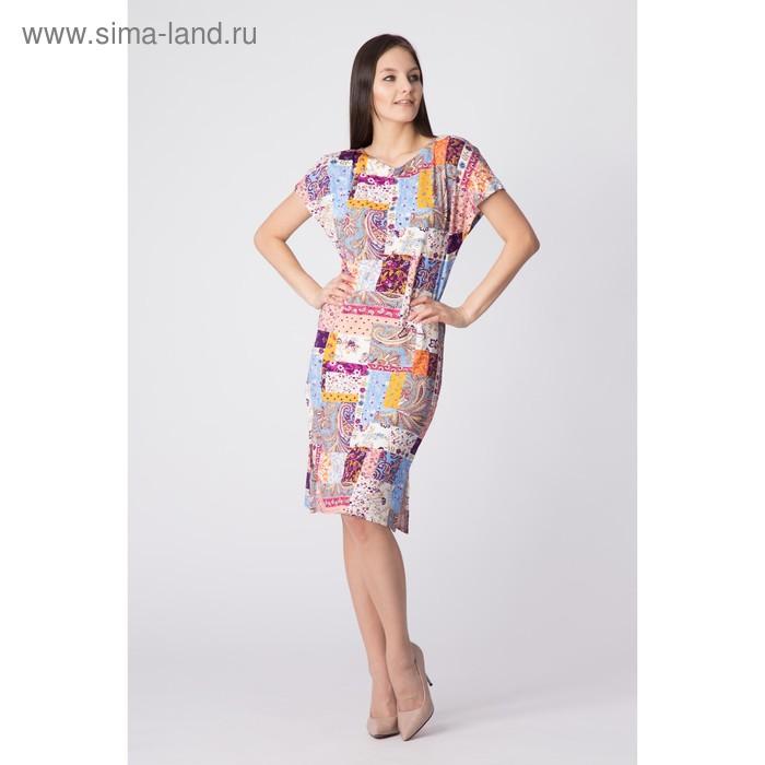 Платье женское, размер 52, рост 170 см, цвет цветной принт (арт. Y0269-0160 С+)