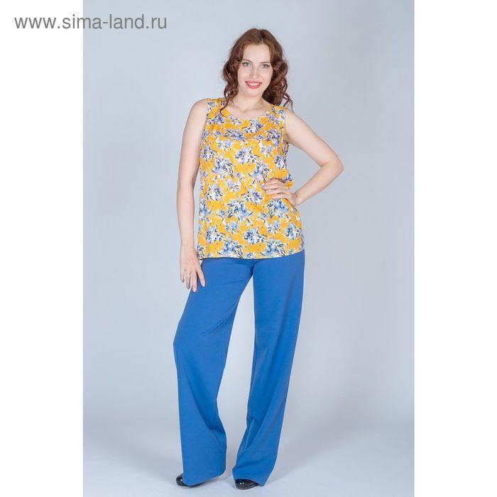 Блуза женская, размер 48, рост 170 см, цвет голубые цветы на желтом (арт. B1390-0970)