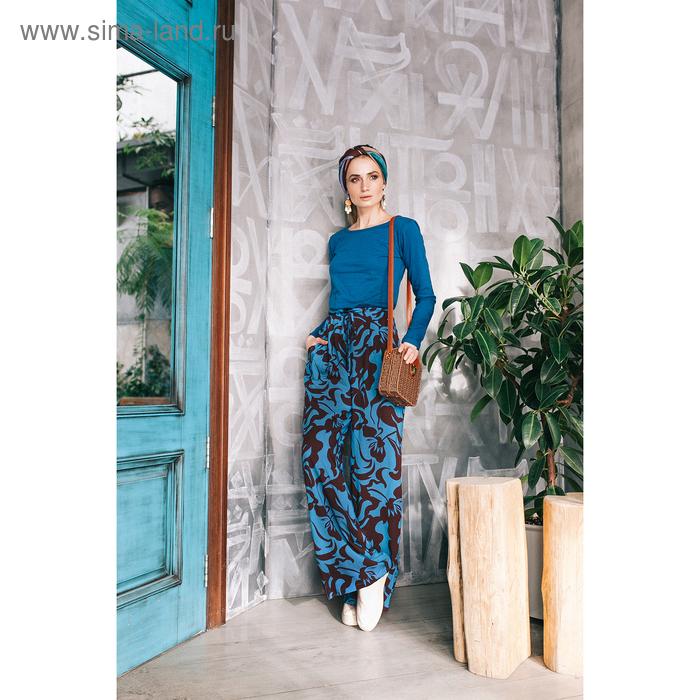Брюки женские, размер 56, рост 170 см, цвет сине-коричневые цветы (арт. Y1161-0148 С+)