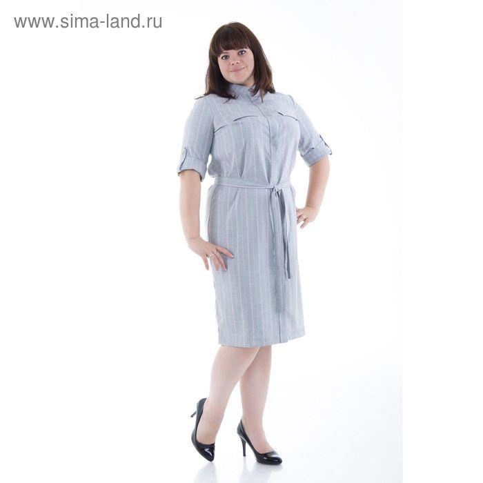 Платье женское, размер 54, рост 170 см, цвет серый в полоску (арт. Y1170-0241 С+)