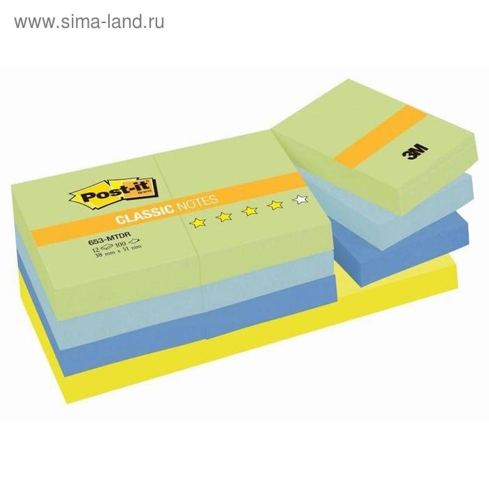 Стикеры Post-it 38x51 мм 4 цвета неоновые 12 блоков по 100 листов