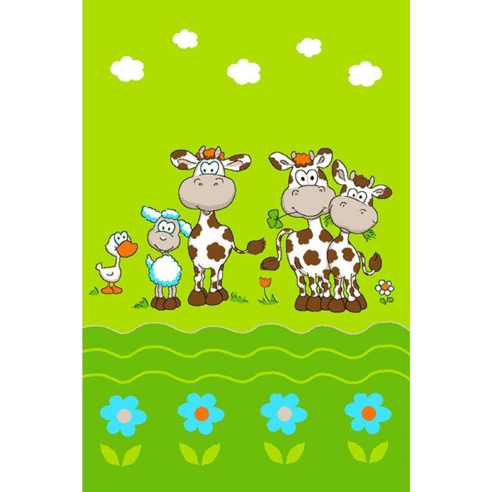 Ковер велюровый «Коровки», 100х150 см, зелёный