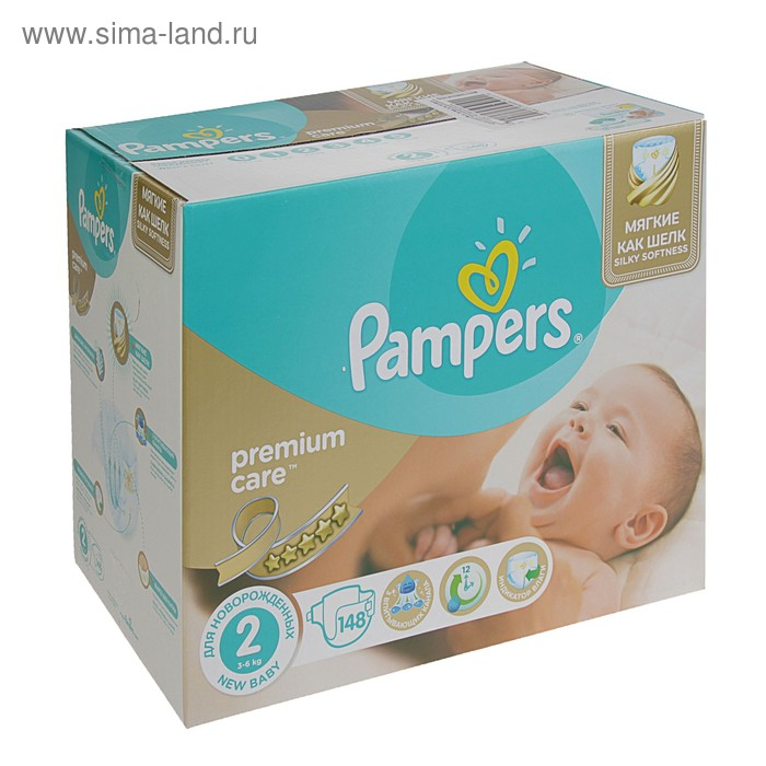 Подгузники Pampers Premium Care Mini 3–6 кг, 148 шт
