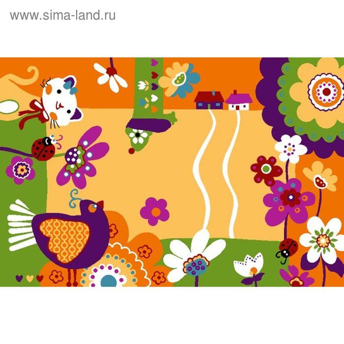 Ковер велюровый Хуторок, размер 100х150 см, цвет бежевый, полиамид