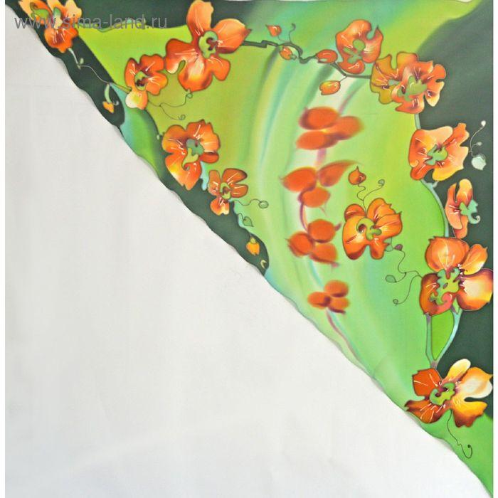 """Косынка ручная роспись """"Орхидеи"""" салатово-оранжевый 90х90 см, крепдешин 100% шёлк"""