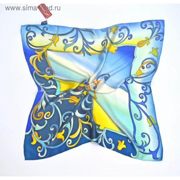 "Платок ручная роспись ""Царица"" сине-желтый 70х70 см, атлас 100% шёлк"