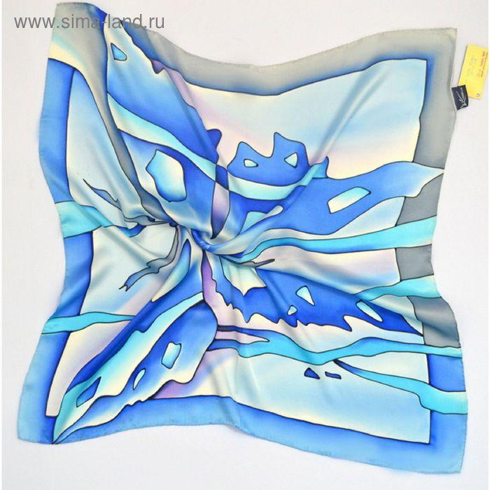 "Платок ручная роспись, ""Бабочка"" серо-голубой 70х70 см, атлас 100% шёлк"