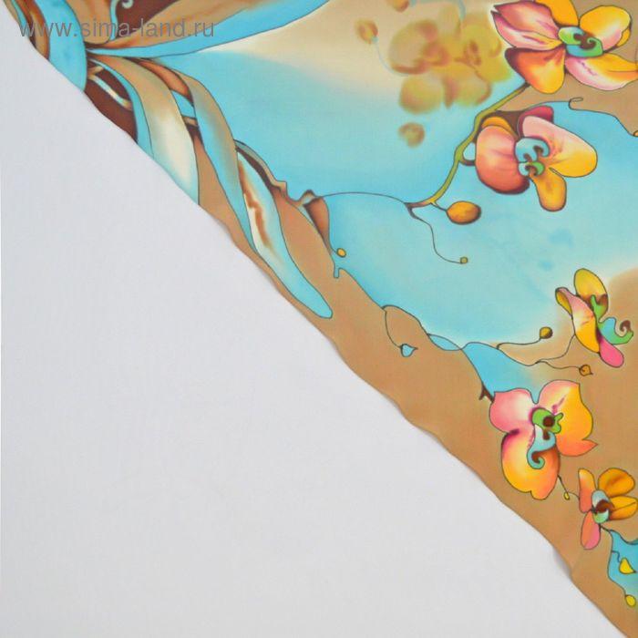 """Косынка ручная роспись """"Сад орхидей"""" песочно-бирюзовый 70х70 см, крепдешин 100% шёлк"""