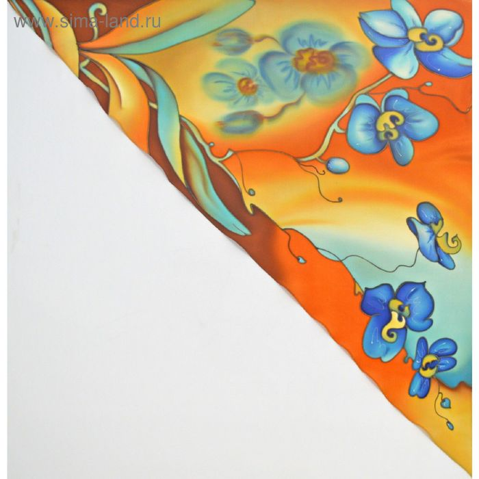 """Косынка ручная роспись """"Сад орхидей"""" оранжево-голубой 70х70 см, крепдешин 100% шёлк"""