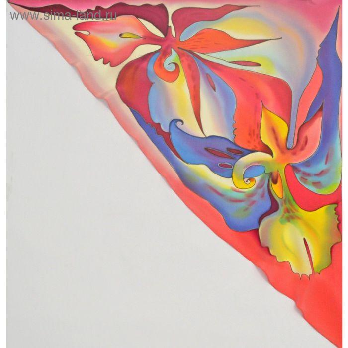 """Косынка ручная роспись """"Шри-Ланка"""" красно-синий 70х70 см, крепдешин 100% шёлк"""
