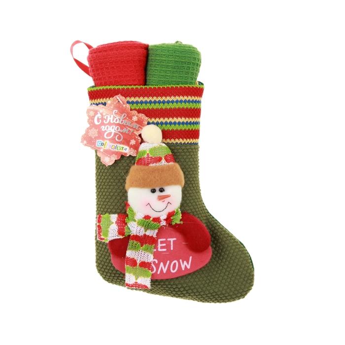 """Набор кух. """"Collorista"""" 2 пр. Gift sock snowman, 38*63 см - 2 шт. 100% хлопок, ваф.полотно"""