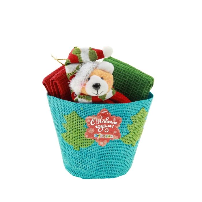 """Набор кух. """"Collorista""""4 пр. Chrsitmas cap bear, 30*30 см - 4 шт. 100% хлопок, ваф.полотно"""