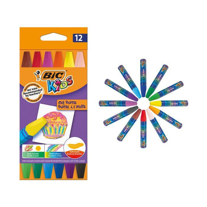 Пастель масляная 12 цветов BIC Kids Oil Pastel