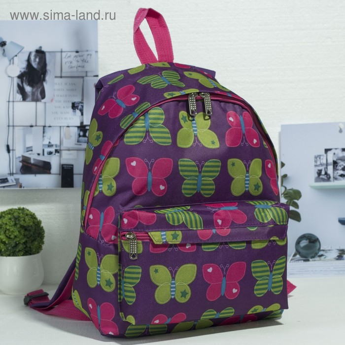 """Рюкзак молодёжный на молнии """"Большие бабочки"""", 1 отдел, 1 наружный карман, фиолетовый"""