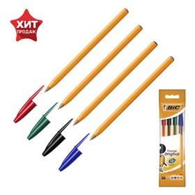 Ручка шариковая, синий, черный, красный, зелёный, тонкое письмо, BIC Orange Fine