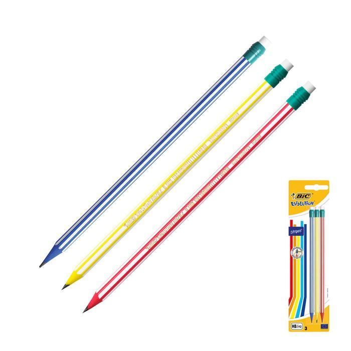 Набор карандашей чернографитных 3 штуки BIC Evolution НВ полоски с ластиком